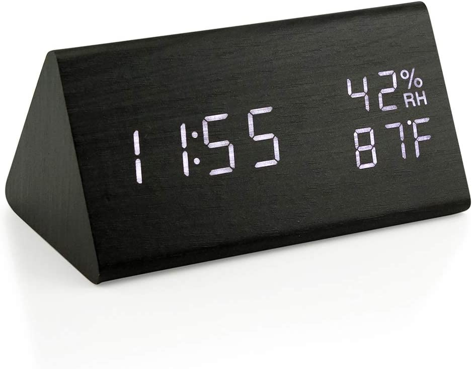 Oct17 Wooden Alarm Clock, Wood LED Digital Desk Clock, Upgraded with Time Temperature, Adjustable Brightness and Voice Control, Humidity Displaying - Black