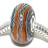"Solid 925 Sterling Silver ""Orange, Blue, and Glitter Striped"" Glass Charm Bead for European Snake Chain Bracelets"