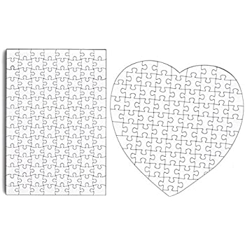 """Set Of 4 Diy White Blank Puzzle 11.5"""" X 8"""" Create A Jigsaw Puzzle Sheets(Two Hearts And Two Rectangles)"""