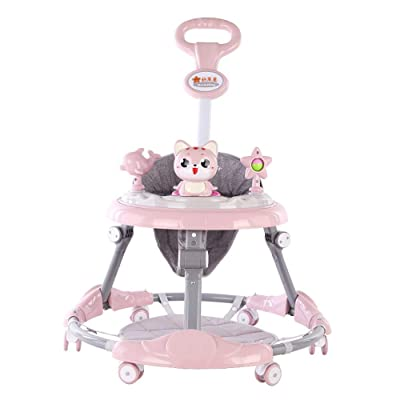 Btybess New Baby Walker 6-Speed Adjustment Multifunctional Anti-Rollover Anti-O-Leg Male and Female Baby Walker, Foldable Activity Walker Helper with Adjustable Height (Color : Pink): Home & Kitchen