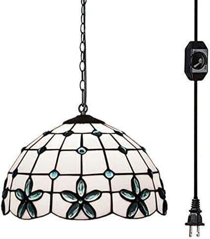 Kiven Tiffany Chandelier With 15 Ft Plug In Cord Metal Hanging Chain And On Off Dimmer Switch Perfect Vintage Swag Pendant Lights For Home Decor
