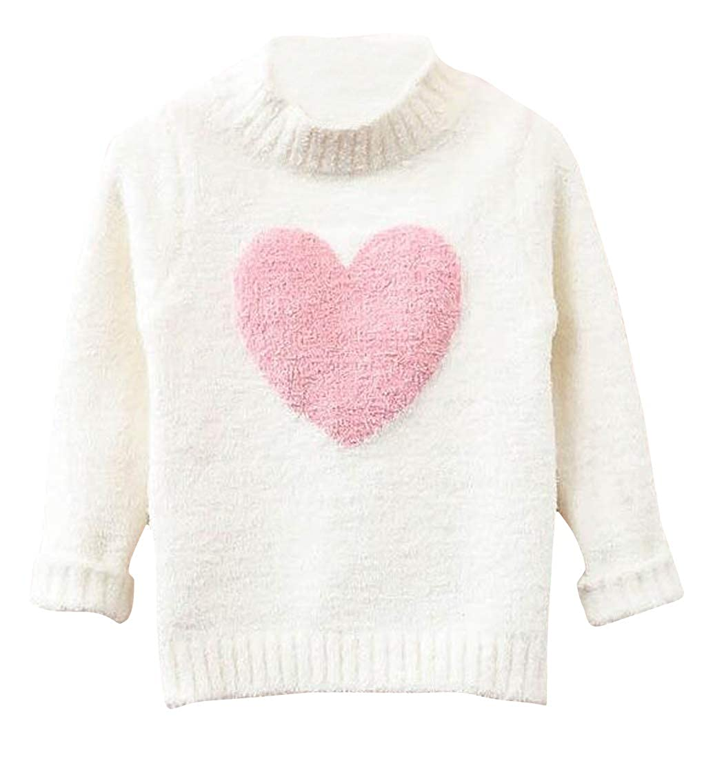Cromoncent Big Girls Mock Turtle Neck Plush Heart Knitted Pullover Sweaters