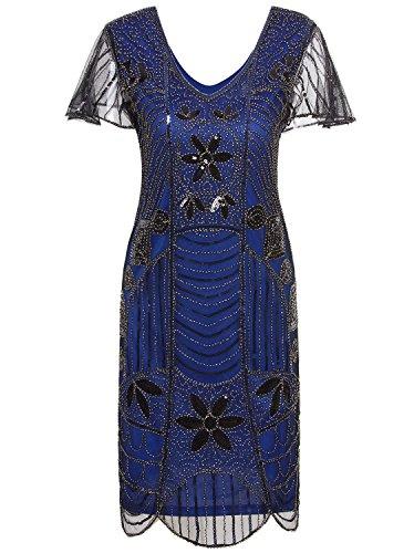 VIJIV Vintage 1920s Deco Beaded Sequin Embellished Flapper Dress with Sleeves Blue