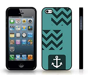 Chevron Zig Zag Dark Teal/ White Stripe White Anchor Sailor Life Snap-on Cover Hard Carrying Case for iPhone 4/4s (BLACK)