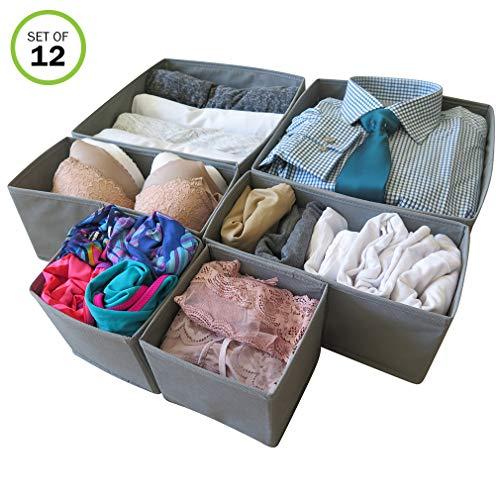 Evelots Foldable Cloth Drawer Storage Box-Closet-Dresser-Divider-Organizer S/12 (Twelve Drawer Dresser)
