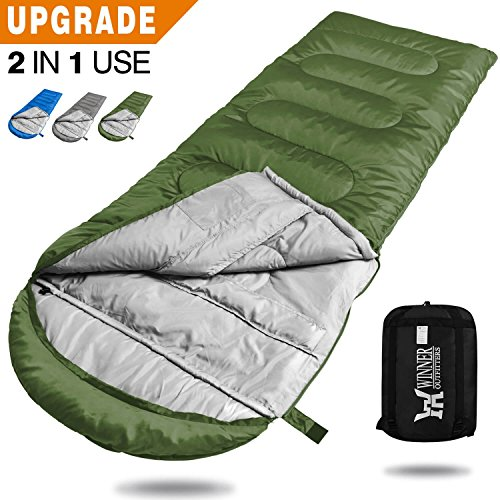 WINNER OUTFITTERS Camping Sleeping Bag Portable Lightweight RectangleMummy Backpacking Sleeping Bag With Compression Sack 4 Season Sleeping Bags For Adults Kids Camping Travel Summer Outdoor