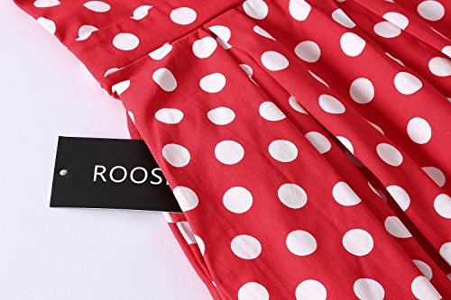 Women's Dot Dress Retro Neck ROOSEY Tea Pattern 2 Polka V Party Sleeveless Vintage Dress d4qnqfZw