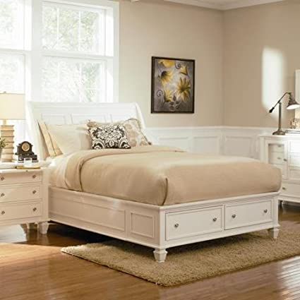 White Storage Bed With Sandy Beach Queen Sleigh Bed With Footboard Storage White Amazoncom