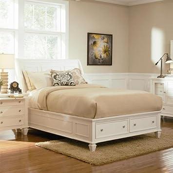 coaster sandy beach queen sleigh bed with footboard storage - Queen Sleigh Bed Frame