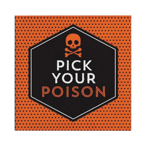 (Hoffmaster Group 324002 2 Ply Halloween Humor Beverage Napkin - Pick Your Poison, Pack of 12-16 Per)