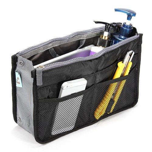 Women Travel Makeup Insert Handbag Organiser Purse Large Liner Organizer Bag Black (black)