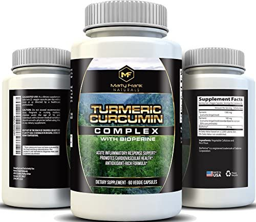 Highest Potency Turmeric Curcumin Complex 1400 with BioPerine and Curcuminoids for Absorption, Joint Relief,Anti-inflammatory, Antioxidant, 60 Veggie caps
