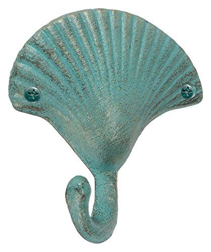 - Abbott Collection Cast Iron Seashell Wall Hook, Light Green