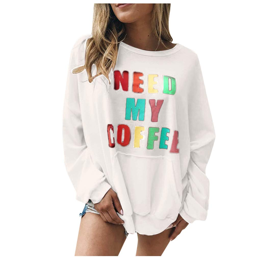 〓COOlCCI〓Winter Tops for Women,Tunic Long Sleeve Shirt Letter Print Pullover Sweatshirt Juniors Sweatshirts Blouse Clothing White by COOlCCI_Womens Clothing