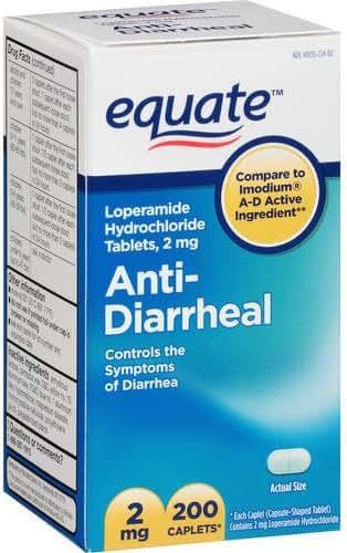 Equate - Anti-Diarrheal, Loperamide 2 mg, 200 Caplets (Compare to Imodium)
