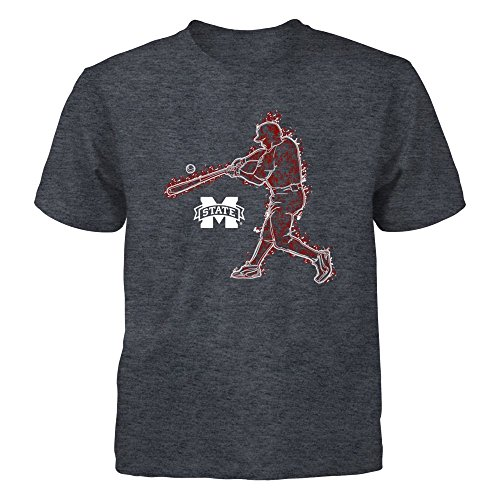 (FanPrint Mississippi State Bulldogs T-Shirt - Baseball Player On Fire - Youth Tee/Dark Grey/S)
