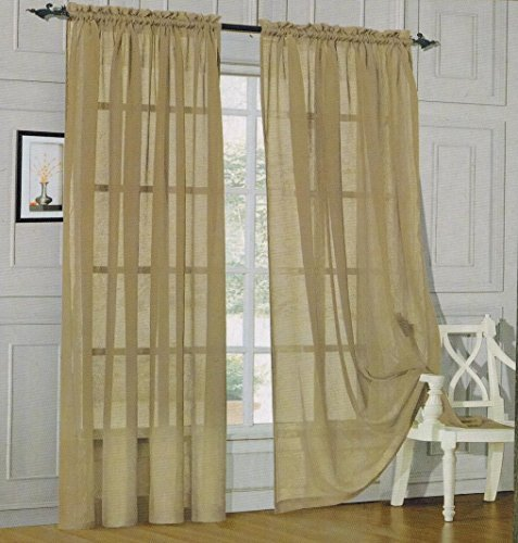 Elegant Comfort 2-Piece SHEER PANEL with 2inch ROD POCKET - Window Curtains 60-inch width X 84-inch Length - Tan