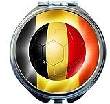 Rikki Knight Brazil World Cup 2014 Belgium Football Soccer Flag Design Round Compact Mirror
