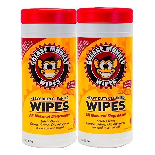 Grease Monkey Wipes Heavy Duty Multi Purpose Cleaning Wipes (Pack of 2), 25 Count Canister by Grease Monkey