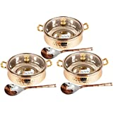 """Set of 3 Prisha India Craft Handmade Steel Copper Casserole with Lid and Serving Spoon - Set of Copper Handi and Serving Spoon - Bowl Dia - 5.00"""" X Height - 2.25"""" - Christmas Gift"""