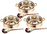 Set of 3 Prisha India Craft SMALL SIZE Steel Copper HANDI with Lid and Serving Spoon - Set of Copper Handi and Serving Spoon - Bowl Dia - 5.00'' X Height - 2.25'' - Christmas Gift