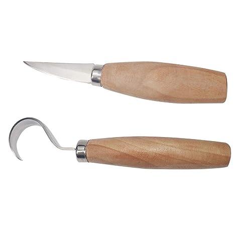 Following Juego de 2 cucharas de Acero Inoxidable para Cortar Cuchillos de Madera, para tallar Madera, Apto para máquina de Grabado y Principiantes