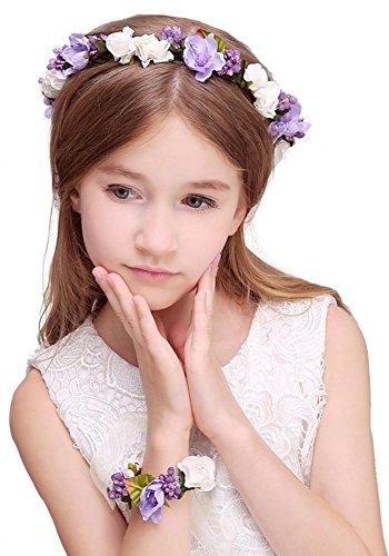 Bienvenu Girl Flower Crown with Floral Wrist Band for Wedding Festivals,Purple (2)