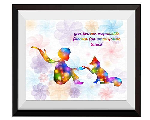 Little Prince Gift (Uhomate The Little Prince Fox Le Petit Prince Little Prince Home Canvas Prints Wall Art Anniversary Gifts Baby Gift Inspirational Quotes Wall Decor Living Room Bedroom Bathroom Artwork C087 (8X10))