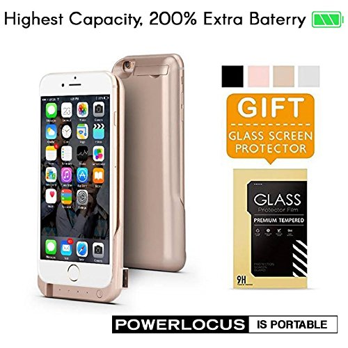 iPhone 6 6S Battery Case, Ultra Slim Extended iPhone 6 Battery Case 6800mAh, External Portable Charging Case, High Capacity Battery Pack Bank Cover (Gold) by PowerLocus