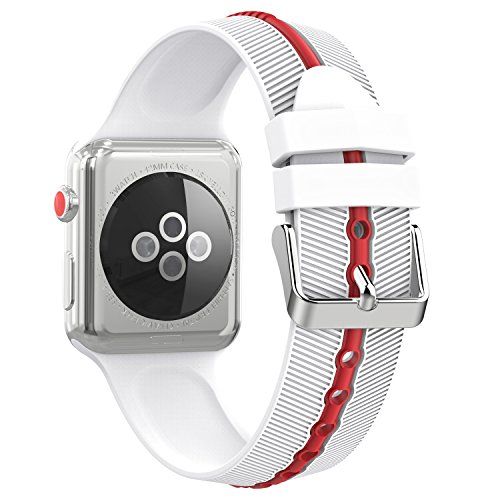- MoKo Compatible Band Replacement for Apple Watch 42mm 44mm Serier 4/3/2/1, Soft Silicone Arrow-Shaped Double Color Replacement Strap - White + Red (Not fit 38mm 40mm Versions)