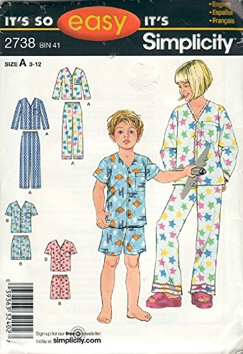 Simplicity Pattern 2738 Child's and Girls' and Boy's Pajamas in Two Lengths, Size A (3-12)]()