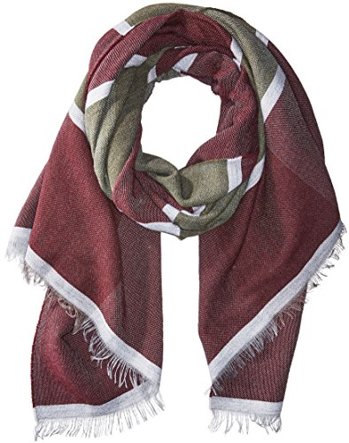 La Fiorentina Women's Italian Scarf with Stripes/Short Fringe Trim, olive/red/grey One Size ()
