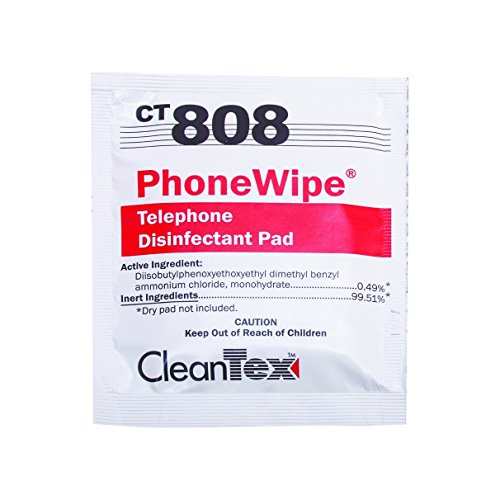 Cleantex PhoneWipe Disinfectant Wipes, Carton of 250 Pads...