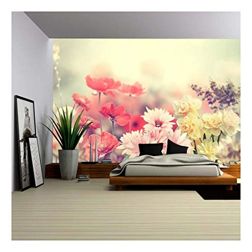 wall26 - Variation of Colorful Spring Flowers - Removable Wall Mural | Self-Adhesive Large Wallpaper - 100x144 inches