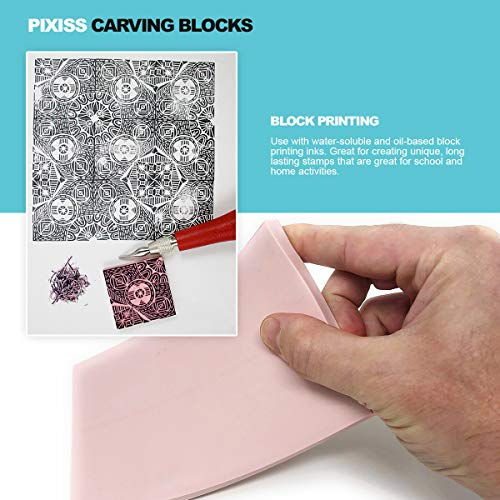 Rubber Block Stamp Carving Blocks Stamp Making Kit with Cutter Tools, 5-Pack Carving Rubber Stamps for Printmaking, Printing and More