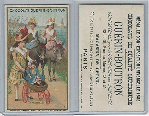 1890's Guerin Boutron Chocolate, Paris, Doll, Stroller, Donkey, Girls, (A10) ZQL