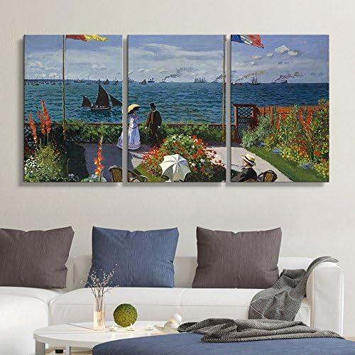 3 Panel Garden at Sainte Adresse 1867 by Claude Monet x 3 Panels