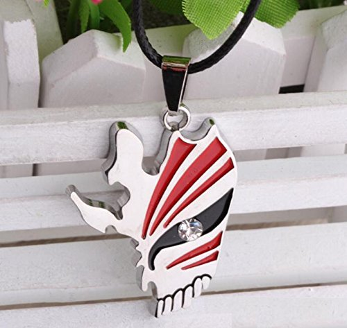 1pc Bleach Ichigo Kurosaki Bankai Hollow Half Mask Semi-face Pendant Necklace - Bail Polished Pendant