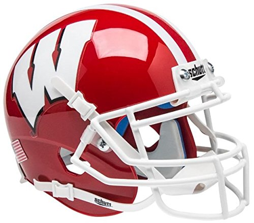 NCAA Wisconsin Badgers Scarlet Mini Helmet, One Size, White (Team Helmet Wisconsin Badgers)