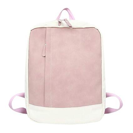 Imzoeyff Lona Simple Mujeres Mochilas Bolsas De Escuela De Color Patchwork para Niñas Adolescentes Bolso De