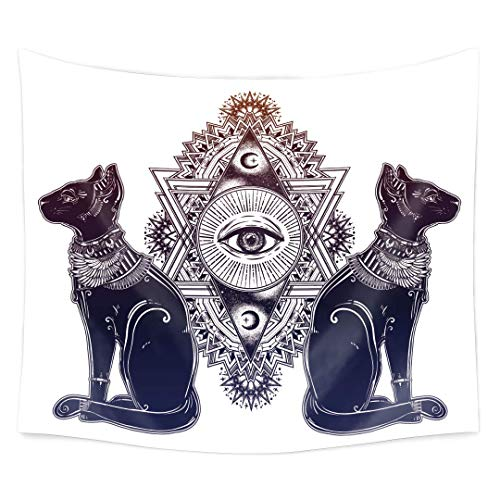 QCWN Animal Tapestry,Ancient Occultism Egyptian Tapestry Vintage Egyptian Cat with Eye of God Horus Wall Hanging Tapestry, Goddess Bastet Sacred Geometry Eye Wall Hanging Tapestries (8, 59Wx51L)]()
