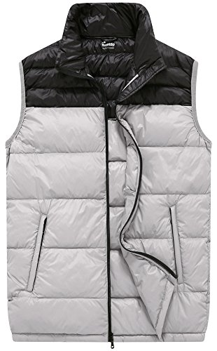 Wantdo Men's Packable Puffy Ski Vest Down Jacket, Grey, XL