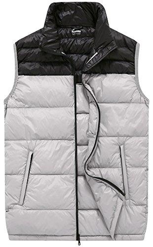 Wantdo Men's Packable Ultralight Travel Down Vest Winter Jacket, Grey, L