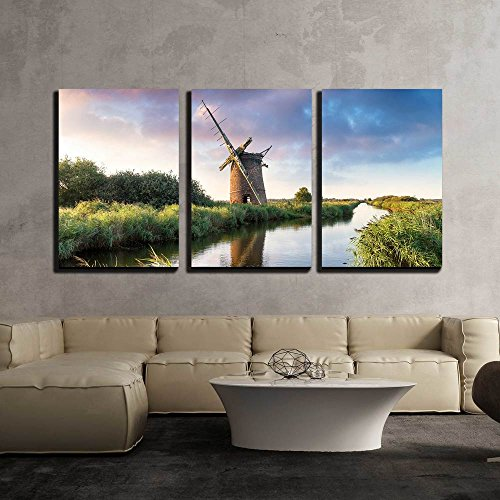 Thr Ruins of the Brograve Windmill on the Norfolk Broads at Sea Palling x3 Panels