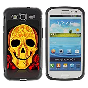 Hybrid Anti-Shock Defend Case for Samsung Galaxy S3 / Cool Yellow Skull Art