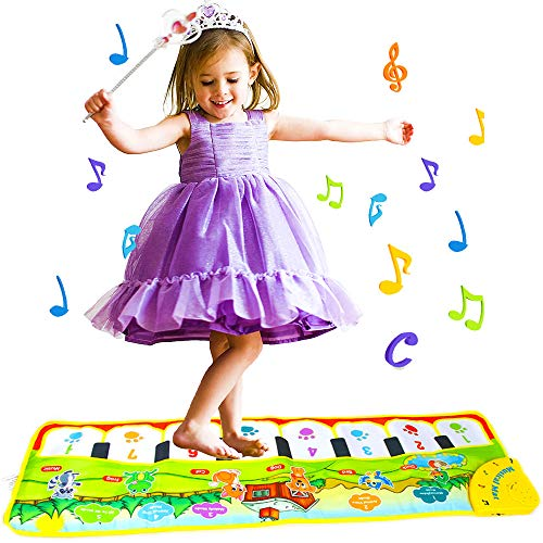 V Convey Fold-able Toddler Piano Mat, 5 Modes Animal Music ,8 Piano Keyboard, 8 Song Kids Keyboard Piano Improved Volume Baby Floor Piano Mat Toys (35.4