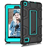 DONWELL Fire 7 Tablet Case for 7th Generation 2017 Release Heavy Duty Shockproof Defender with Kickstand Anti-Slip Protective Cover for All-New Amazon Kindle Fire HD 7 (Black/Light Blue)