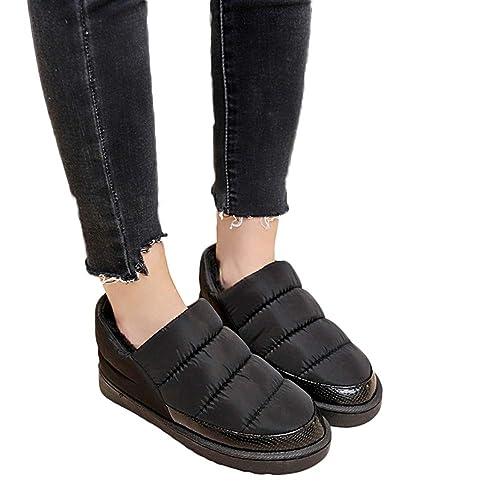 744183c1f9 Amazon.com  Women Snow Boots Cinsanong Keep Warm Bare Boots Leisure Bread  Winter Waterproof Flat Shoe  Clothing