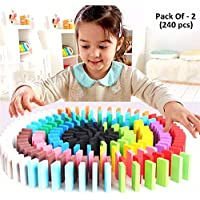Seven Moon Good Quality Wooden Domino Run Board Building Blocks Educational Toys for Children Boy Girl Games Kids Gift - (Pack of 240 Pcs)