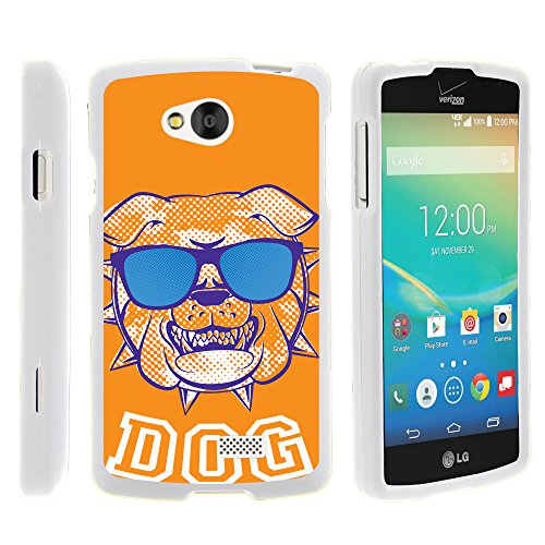 LG Tribute , Slim Sleek Plastic Case Hard + Screen Protector + Stylus Pen White LG Transpyre , Optimus F60 by MINITURTLE - Orange Bulldog